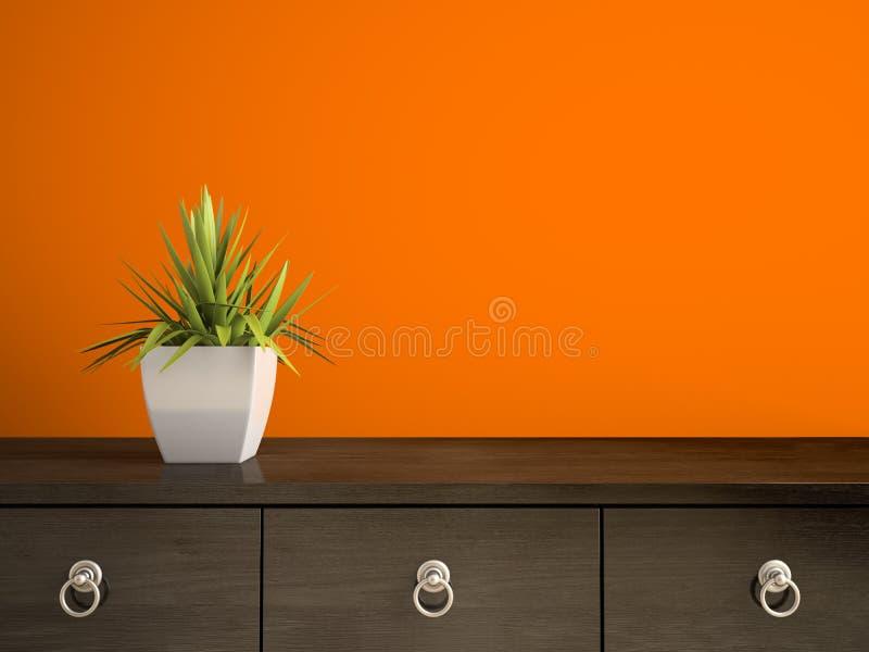 Une partie d'intérieur avec l'usine et le rendu orange du mur 3D illustration libre de droits