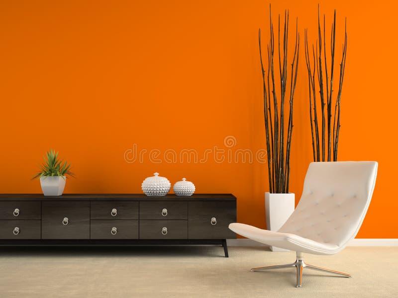 Une partie d'intérieur avec le fauteuil blanc et le renderin orange du mur 3D photo stock