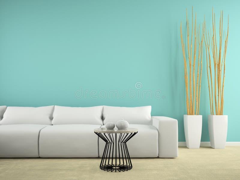 Une partie d'intérieur avec le sofa blanc et le rendu bleu du mur 3D illustration de vecteur