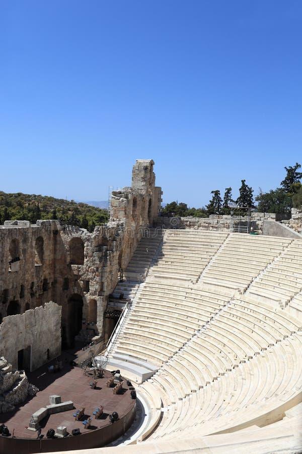 Une partie d'Odeon antique d'Atticus de Herodes photos stock