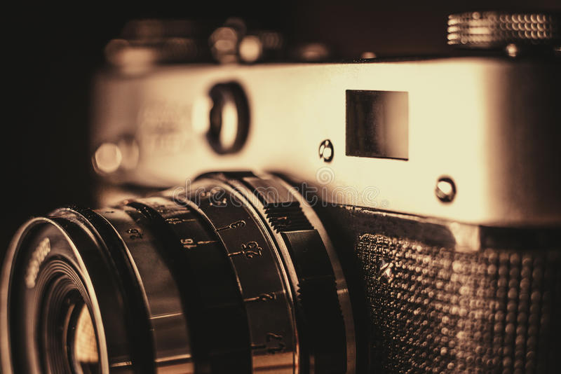 Une partie d'un appareil-photo très vieil de film image libre de droits