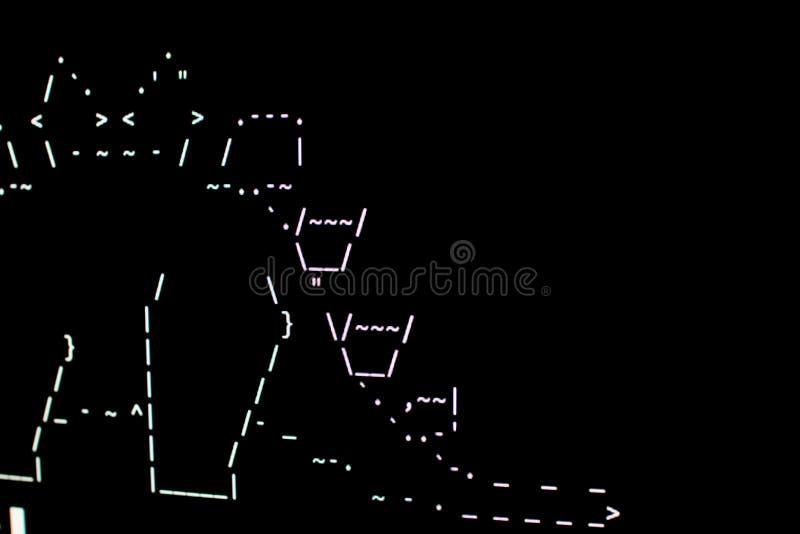 Une partie d'un dinosaure dessiné dans l'ASCI-art sur le terminal illustration libre de droits