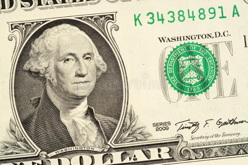 Une partie d'un fond de billet d'un dollar Macro en gros plan de photo de haute r?solution images stock