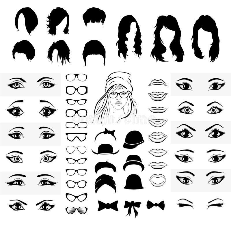 Une partie d'un visage, de yeux, de bouche, de chapeau et de verres de femme illustration stock