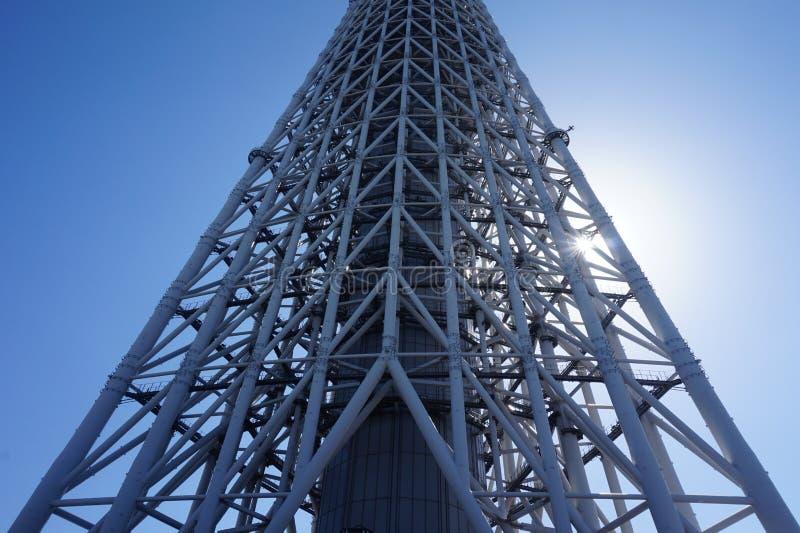 Une partie de bâtiment de tour de ciel-arbre du Japon Tokyo avec le ciel bleu images libres de droits
