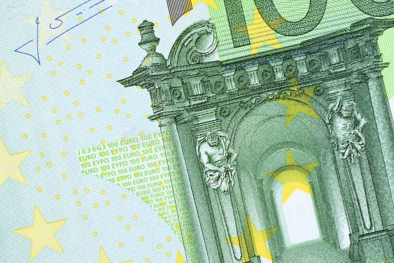 Une partie de cent fonds de facture d'euro Macro en gros plan de photo de haute résolution photographie stock