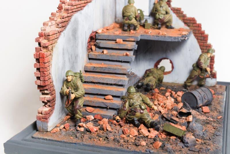 Une partie de diorama avec six soldats photo libre de droits