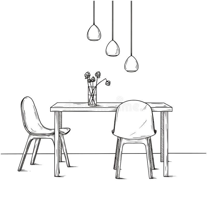 Une partie de la salle ? manger Sur le vase ? table de fleurs Coup de lampes au-dessus de la table Croquis tir? par la main illustration de vecteur