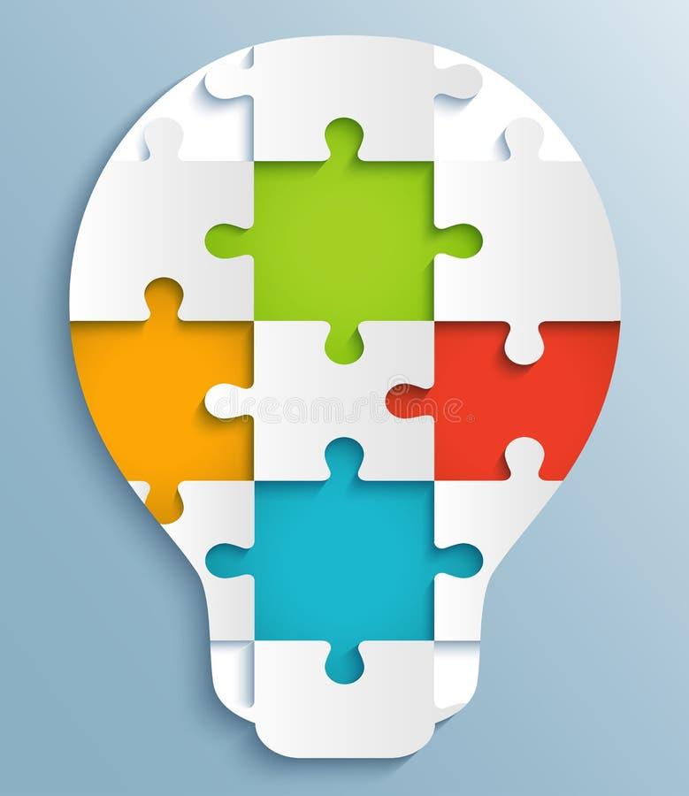 Une partie de puzzles sous forme d'ampoules. Creati illustration libre de droits