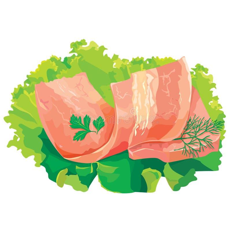 Une partie de viande avec de la salade illustration stock