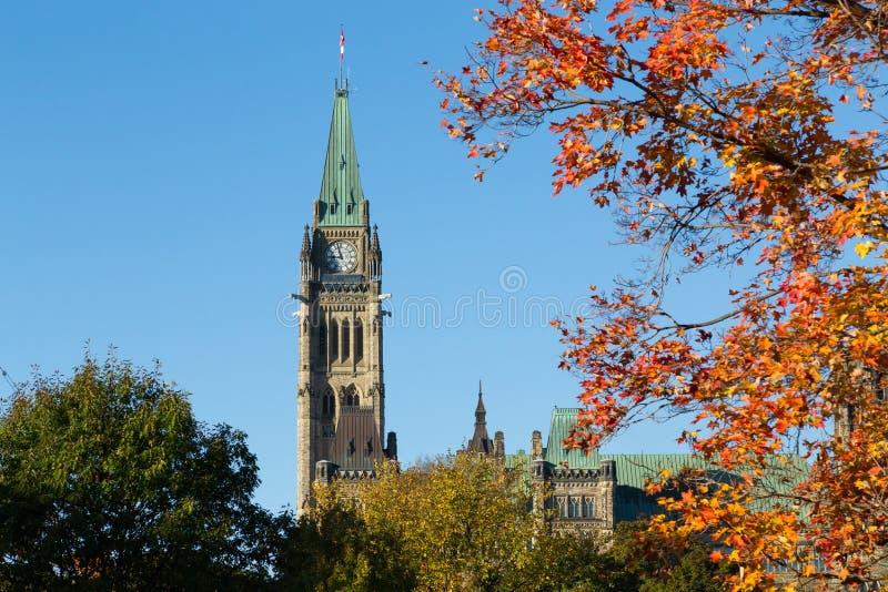 Une partie des bâtiments du Parlement d'Ottawa photo stock