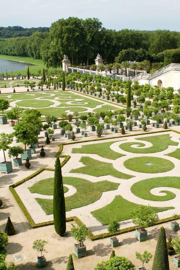 Une partie du beau jardin d'orangerie, palais de Versailles images libres de droits