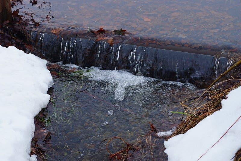 Une partie du courant avec de l'eau clair parmi la neige blanche et l'herbe sèche photos stock