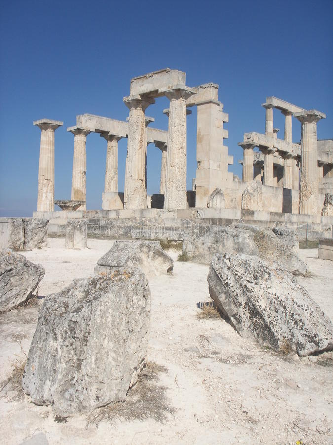 Temple antique grec - Aphaia - Aegina images stock