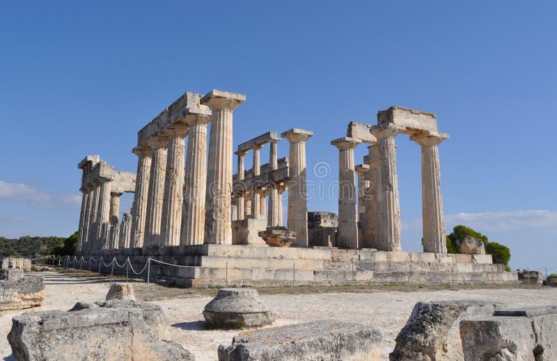Temple antique grec - Aphaia - Aegina photo libre de droits