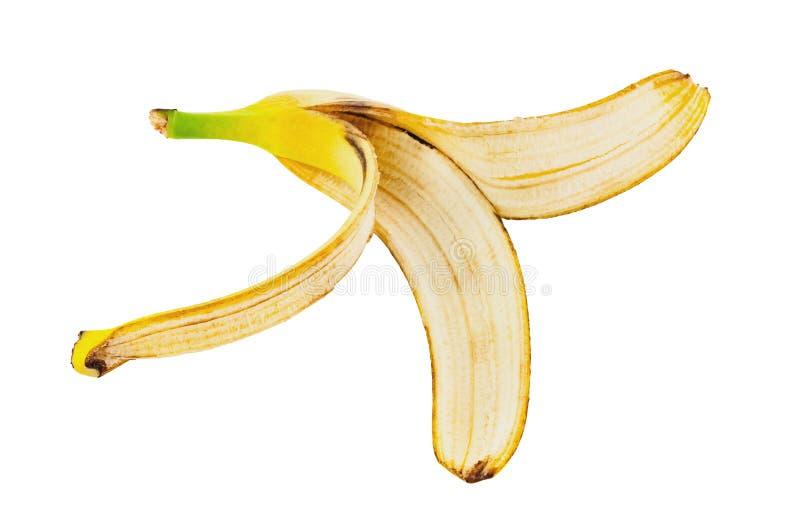 Une peau de banane sans chair d'isolement sur le fond blanc photo libre de droits