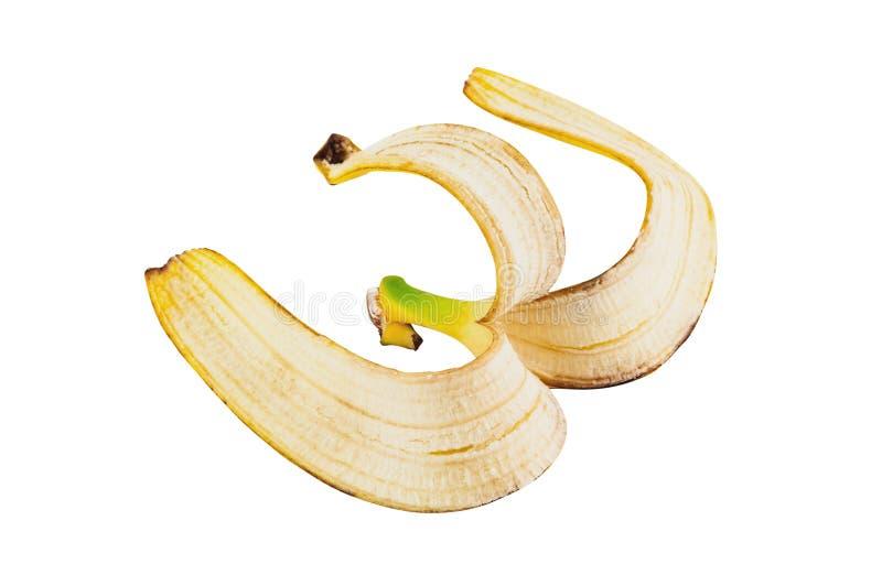 Une peau de banane sans chair d'isolement sur le fond blanc photographie stock libre de droits