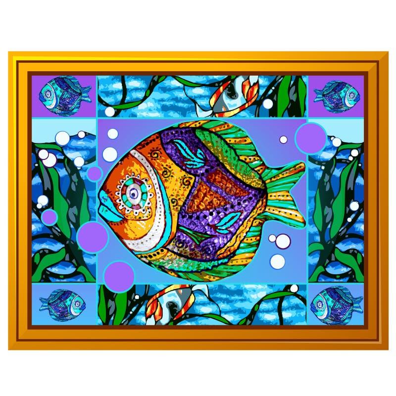 Une peinture des poissons multicolores avec les modèles abstraits d'isolement sur le fond blanc Plan rapproch? de bande dessin?e  illustration libre de droits