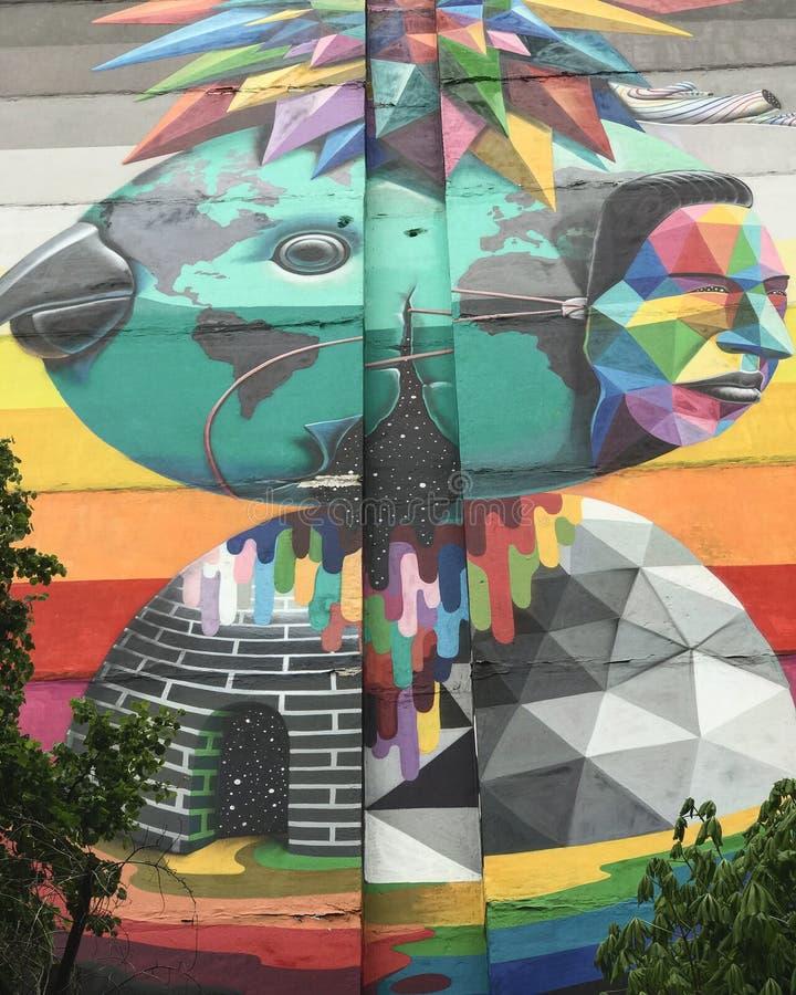 Une peinture murale du côté d'un appartement dans Kyiv, Ukraine illustration stock
