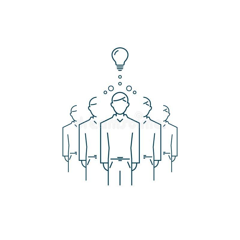 Une personne avec une bonne idée est différente d'autres Ligne symbole de vecteur illustration de vecteur