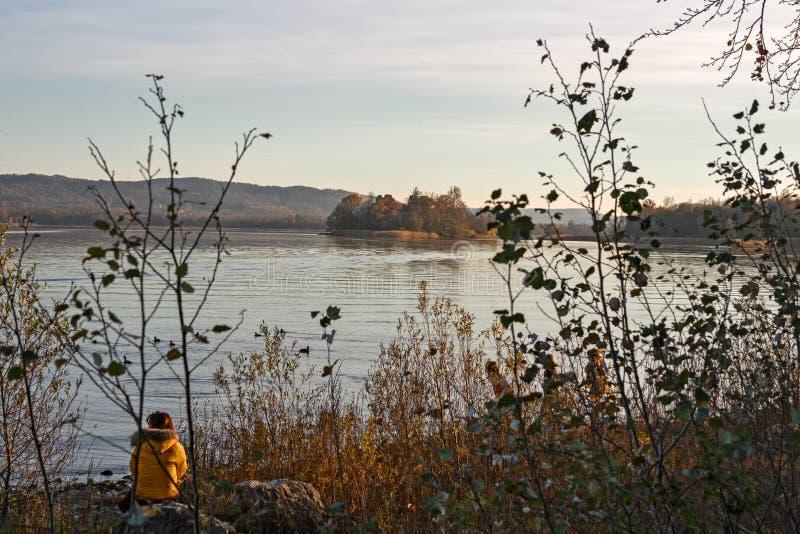 Une personne contemple le lac un hiver images stock