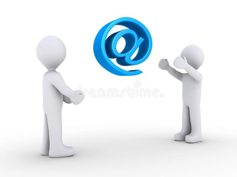 Une personne projette le symbole d'email à l'autre illustration stock
