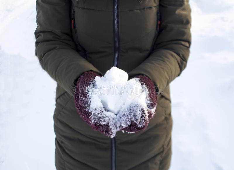 Une personne tient une boule de neige en hiver en parc, promenade, amusement, sports et loisirs, veste verte, mitaines de Bourgog photos stock