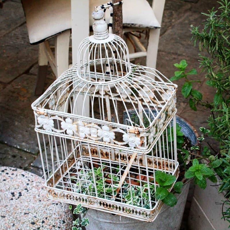 Une petite cage dans une rue médiévale photo stock