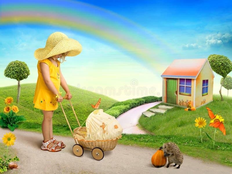 Une petite fille avec le chariot de poupée photo stock
