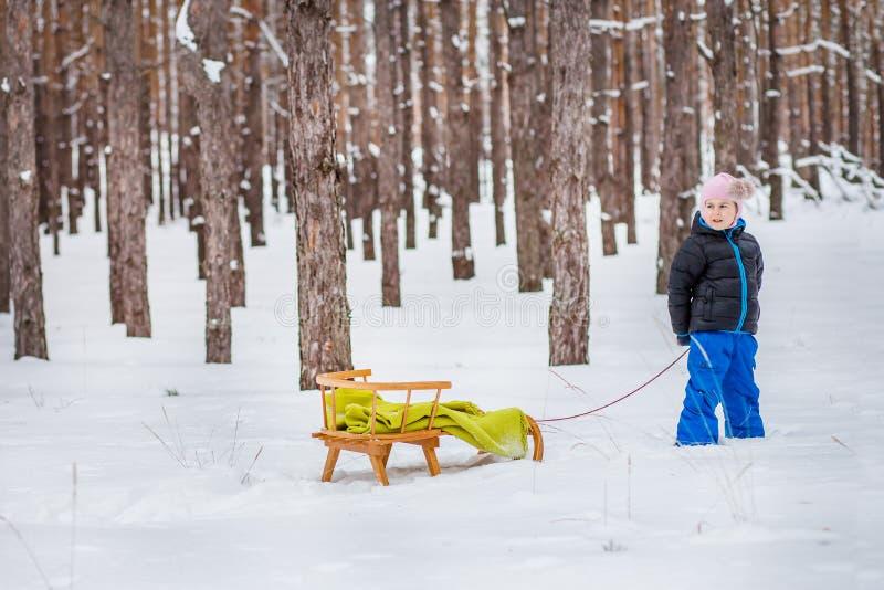 Une petite fille avec le traîneau dans la promenade de famille de forêt dans les bois photos stock