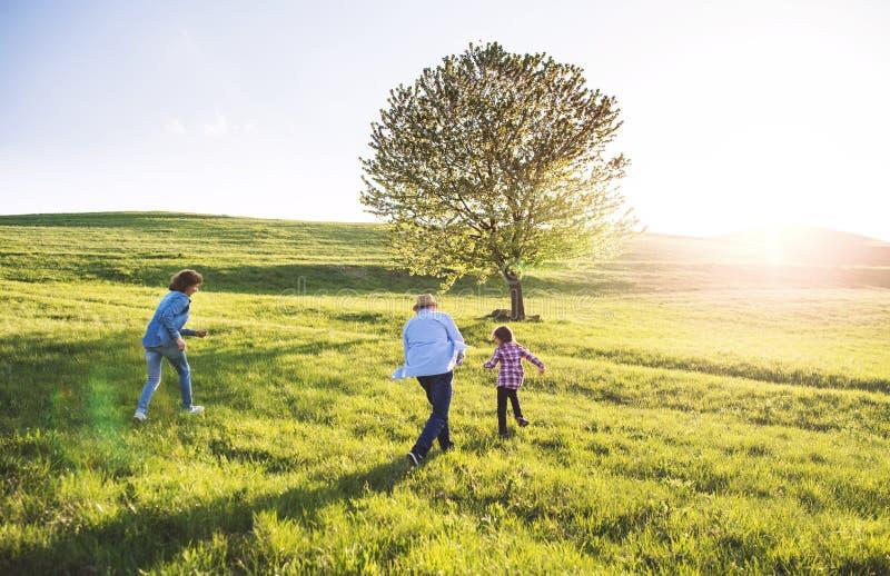 Une petite fille avec ses grands-parents supérieurs jouant dehors en nature photos stock