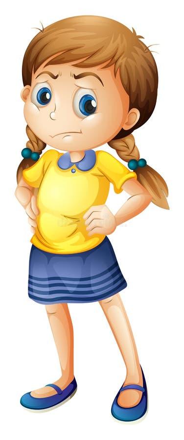 Une petite fille fâchée illustration stock