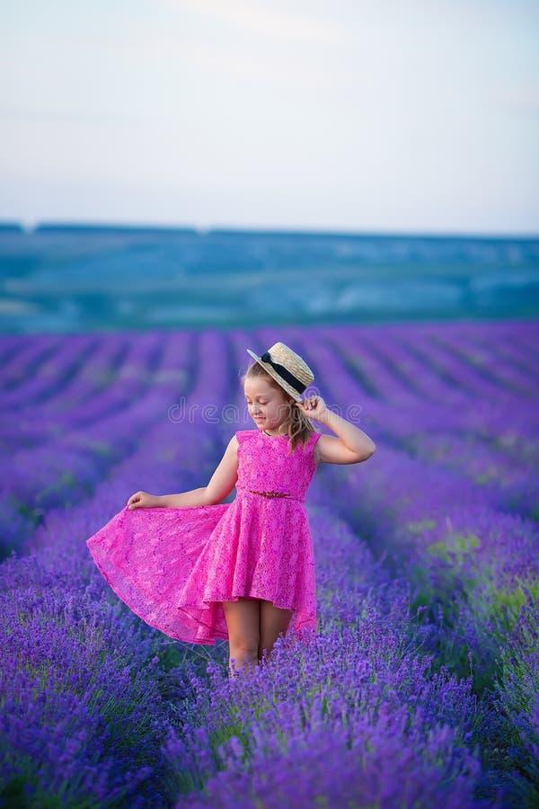 Une petite fille marche entre les gisements de lavande en Provence Scène stupéfiante de puissance de fille et de belle nature photo libre de droits