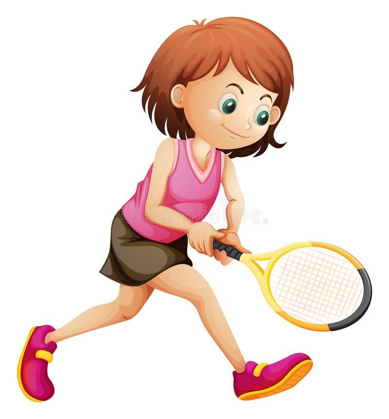 Une petite fille mignonne jouant le tennis illustration de vecteur