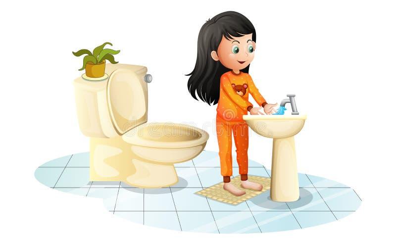 Une petite fille mignonne se lavant les mains illustration de vecteur