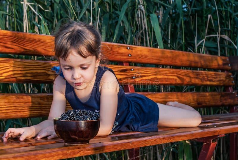 Une petite fille se trouve sur le banc parmi les hautes herbes regardant un bol complètement de mûres fraîches mûres photographie stock libre de droits