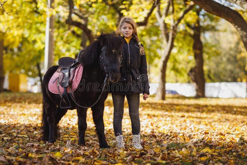 Une petite fille, supports à côté d'un beau poney noir en automne se garent images libres de droits