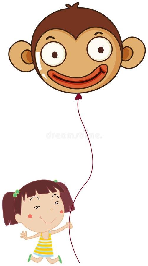 Une petite fille tenant un ballon de singe illustration de vecteur