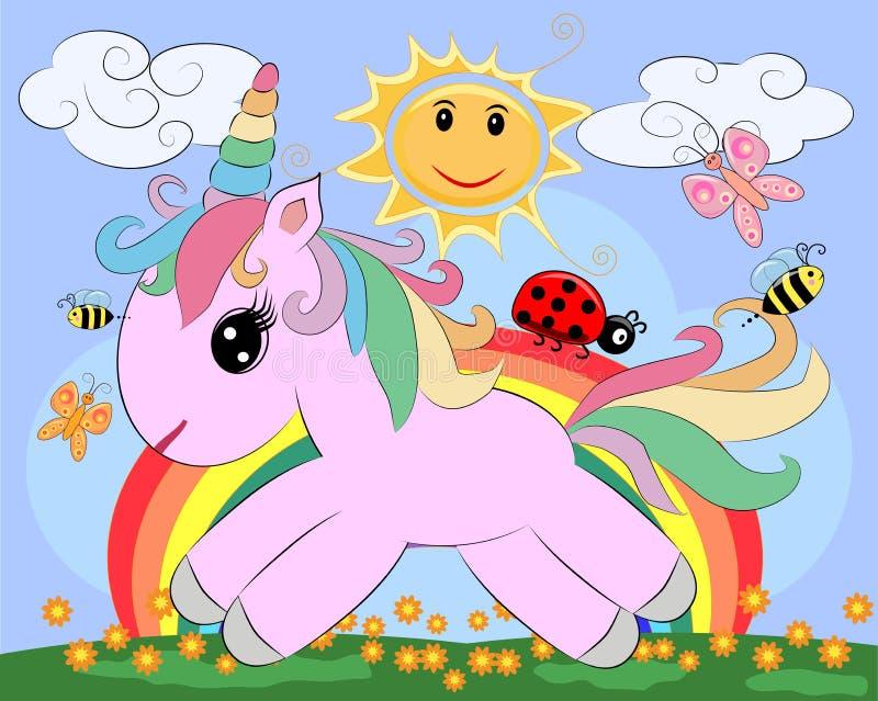 Une petite licorne mignonne rose de bande dessinée sur une clairière avec un arc-en-ciel, fleurs, le soleil illustration libre de droits