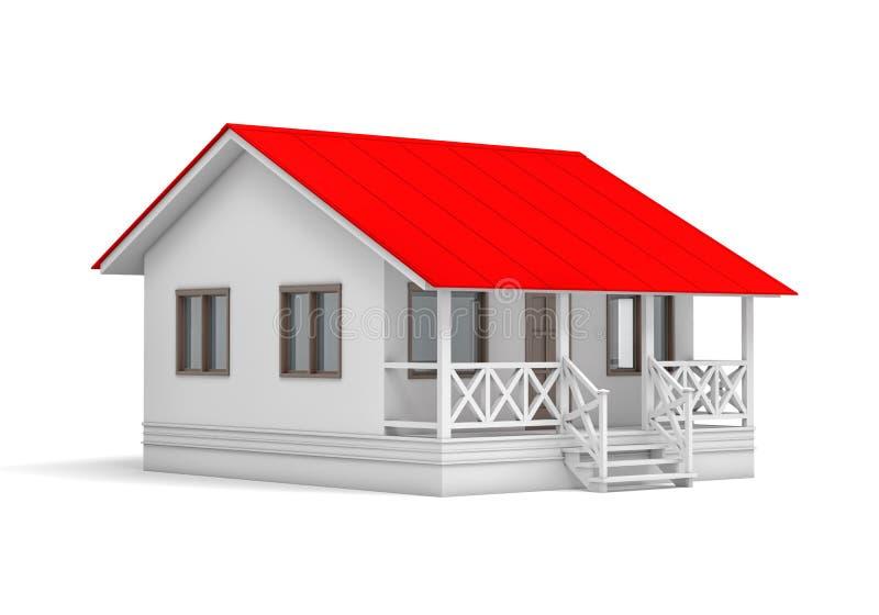 Une petite maison avec le toit rouge illustration stock