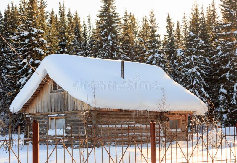 Une petite maison en bois dans la forêt de sapin d'hiver photo libre de droits