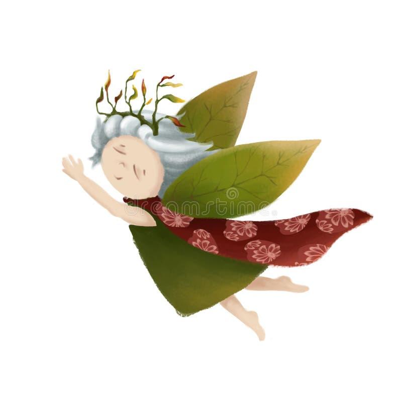 Une petite princesse de forêt Une petite fille de conte de fées Une fée avec les ailes vertes le chef heureux de crabots mignons  illustration libre de droits