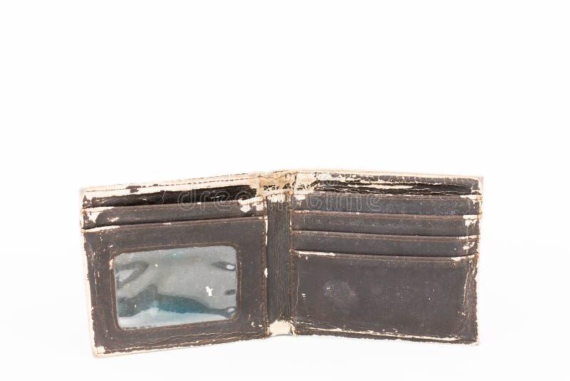 Une photo d'un vieux portefeuille en cuir brun image stock