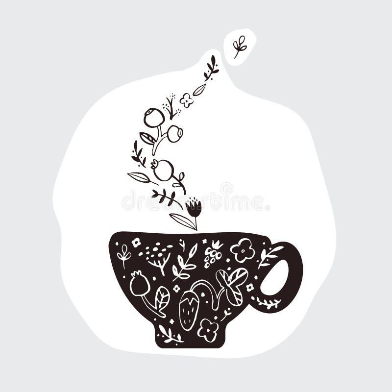 Une photo de griffonnage d'une tasse de thé parfumé de fines herbes illustration de vecteur