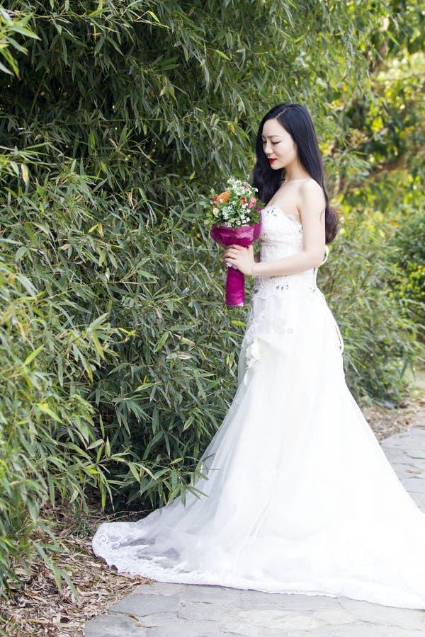 Une photo/portrait de mariage de jeune femme se tiennent prêt des bambous photo libre de droits