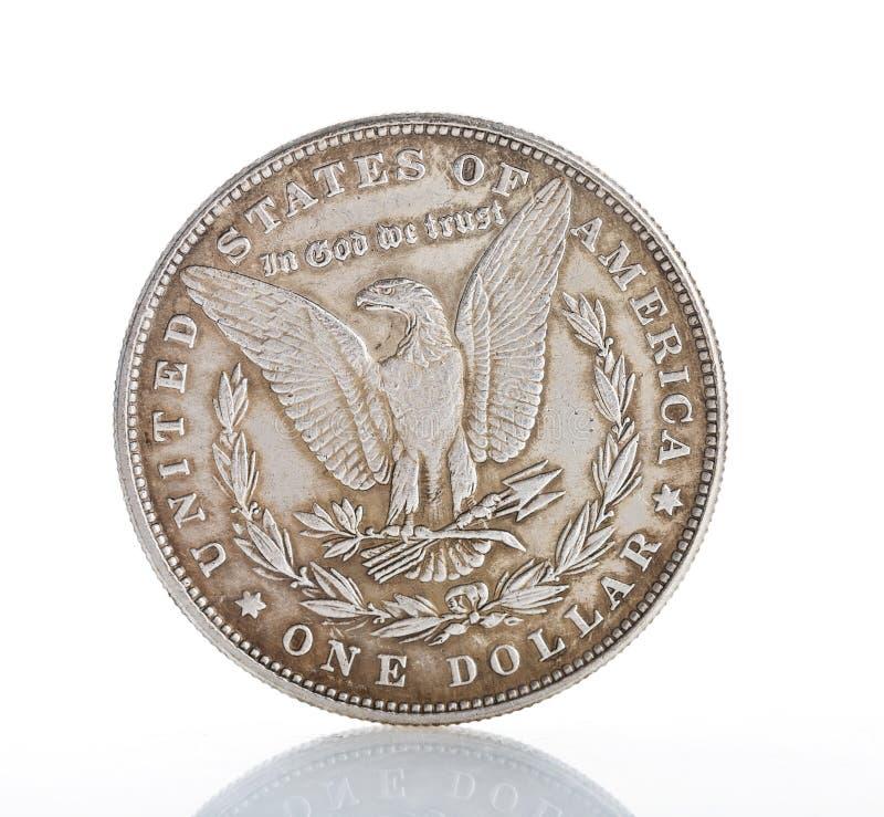 Une pièce de monnaie de dollar en argent photographie stock