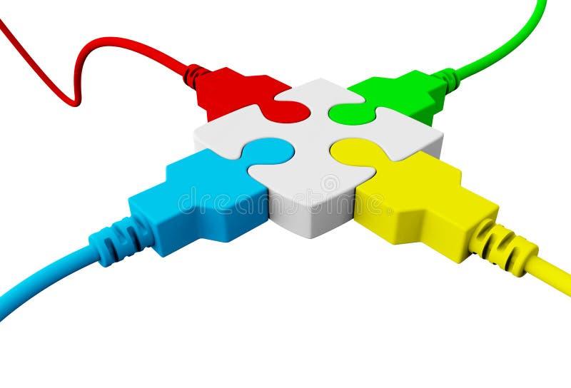 Une pièce du puzzle liée à quatre fils a coloré le rouge, bleu illustration stock