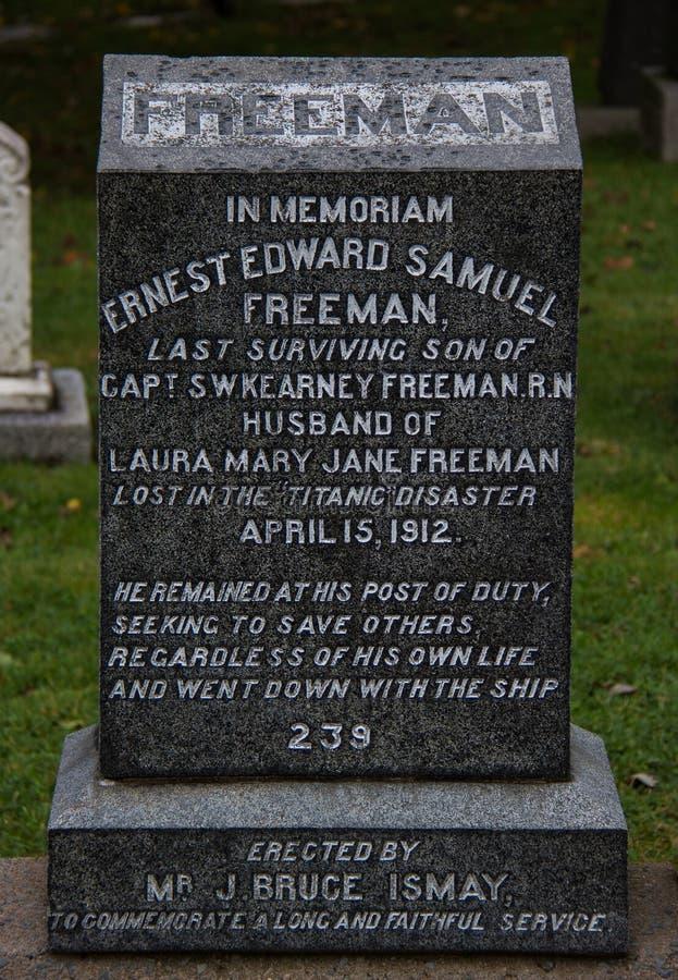 Une pierre grave au site grave de Titanic photographie stock libre de droits