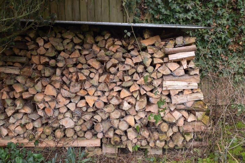 Une pile de bois de chauffage coupé sous un maigre à photos libres de droits