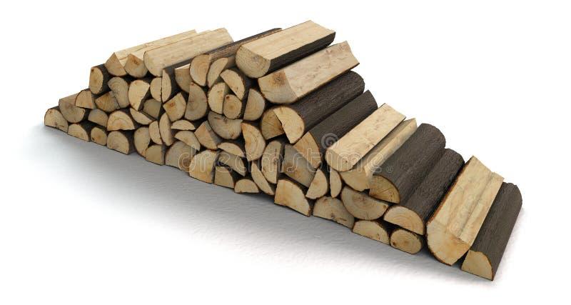 Une pile de bois de chauffage d'isolement sur le fond blanc photos stock